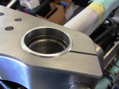 Toaster Tan Fork Tube Ring Installed Above Fork Tube