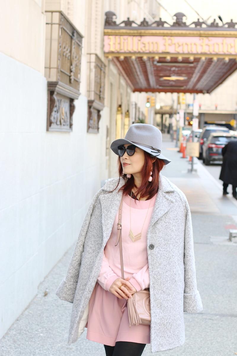 pink-dress-gray-coat-fedora-hat-9