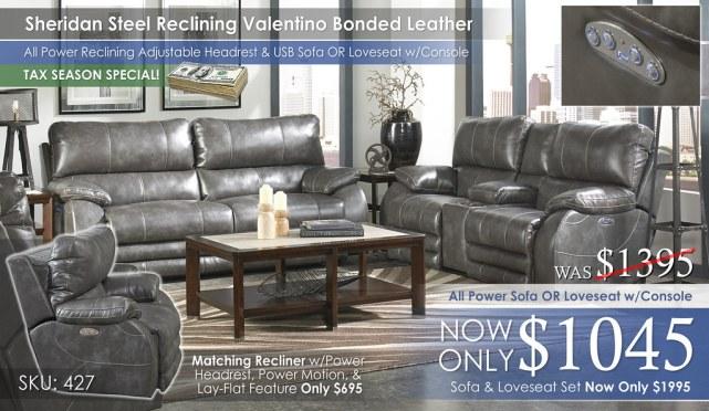 Sheridan Steel Reclining Valentino Bonded Leather Collection 427-sheridan-steel-cu1692_TAX