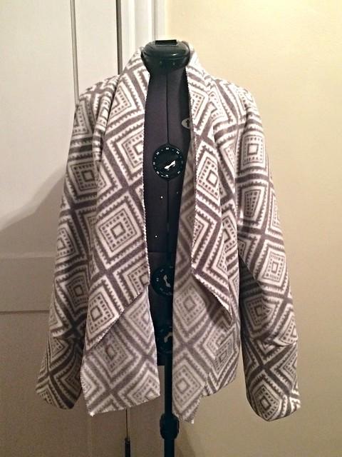 Fleece drape front sweater