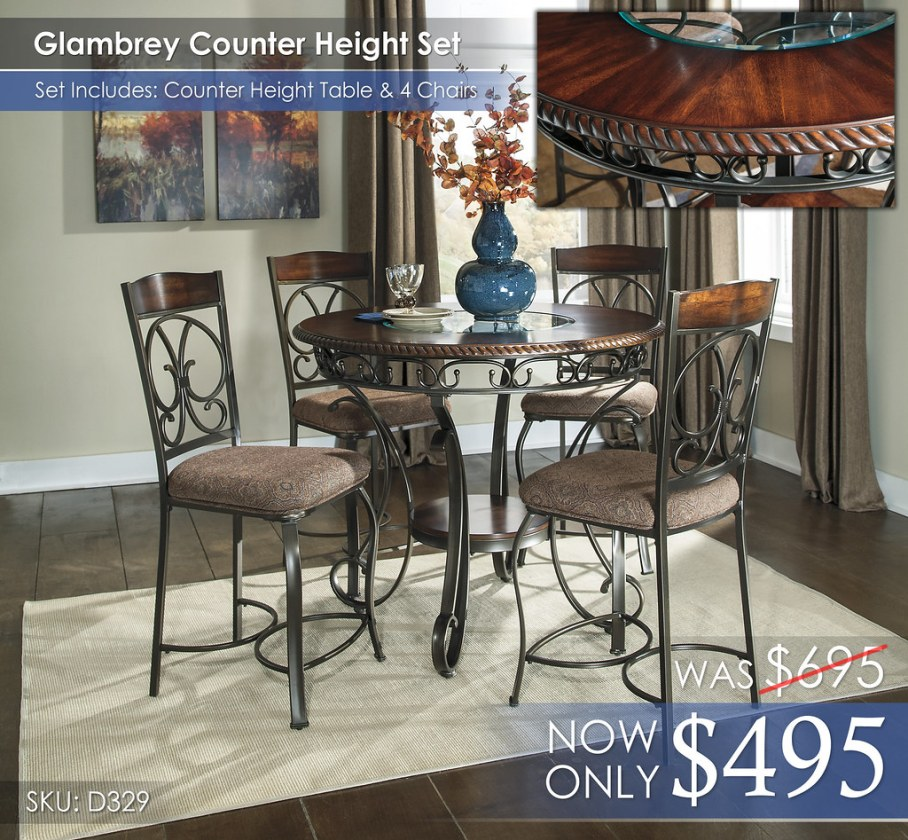 Glambrey Counter Height Table & 4 Chairs D329-13-124(4)-R260