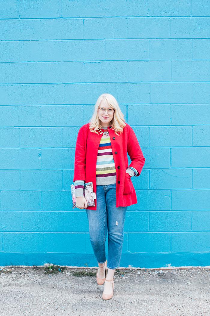 writes like a girl pink coat rainbow gap sweater2