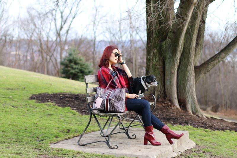burgundy-bag-boots-poncho-park-bench-dog-1