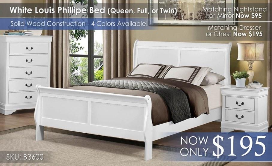 Homelegance White Louis Phillipe 3600 Bed Only