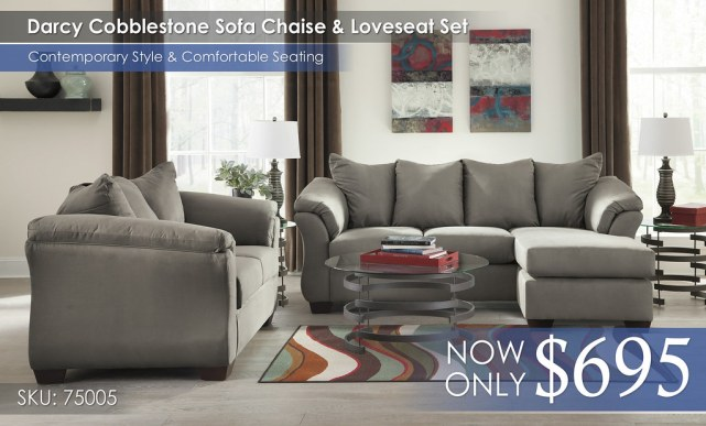 Darcy Cobblestone Sofa Chaise & Loveseat 75005-18-35-T408