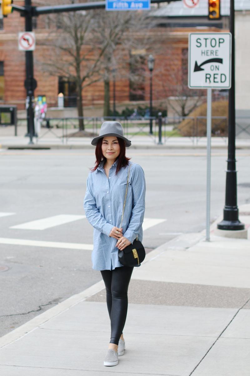 fedora-hat-pinstripe-club-monaco-button-down-shirt-spanx-leggings-1