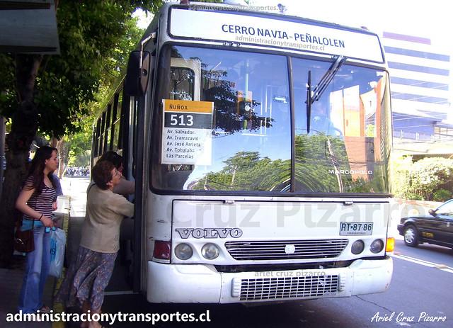 Transantiago 513 | Buses Metropolitana | Marcopolo Torino GV - Volvo / RT8786