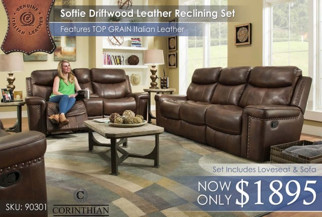 90301 Softie Driftwood Top Grain Leather Reclining Set