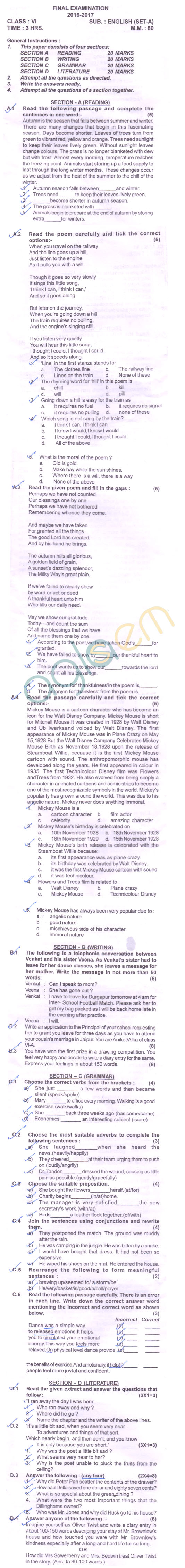 Cbse Class 6 Sa2 Question Paper For English