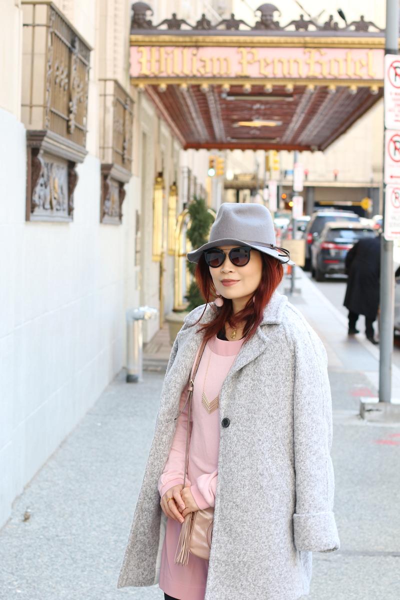 pink-dress-gray-coat-fedora-hat-3