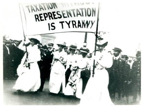 Demonstrations, Strikes, Marches, Processions: suffrage parade, c.1908.