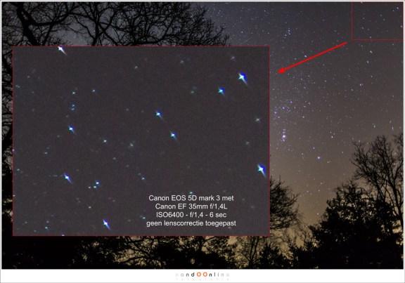 De Monochromatische Aberratie van de oorspronkelijke EF 35mm f/1,4L werd zichtbaar bij sterrenfotografie