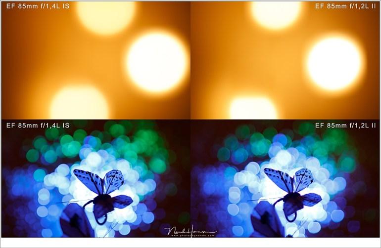 Het verschil in onscherpte van beide objectieven bij maximale lensopening.