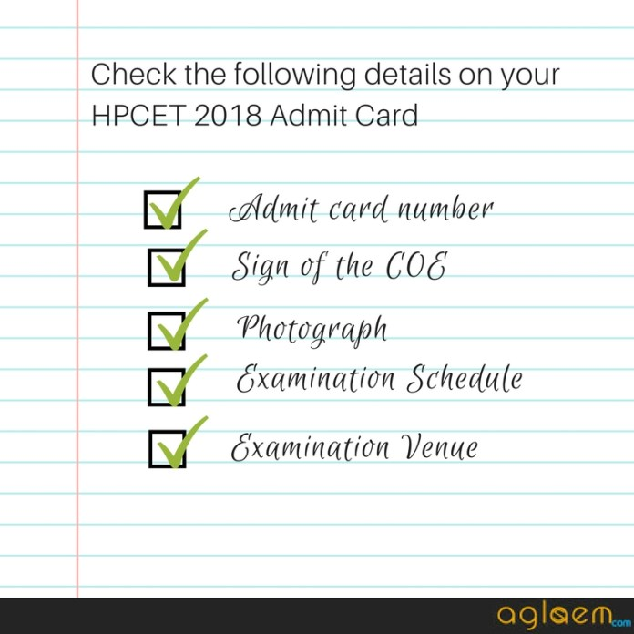 HPCET 2018 Admit Card