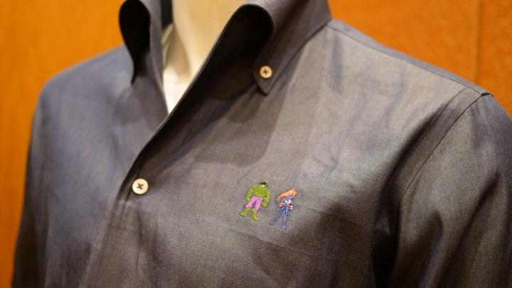 The Incredible Hulk and Black Widow embroidery on a CYC dress shirt.