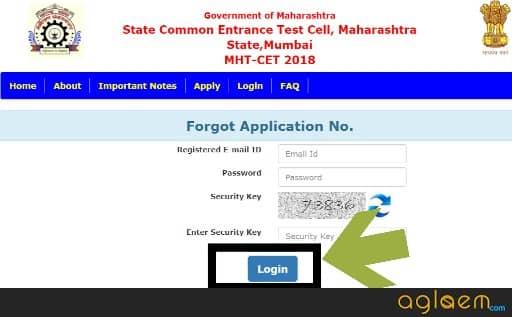 Forgot MHT CET 2018 Application Number