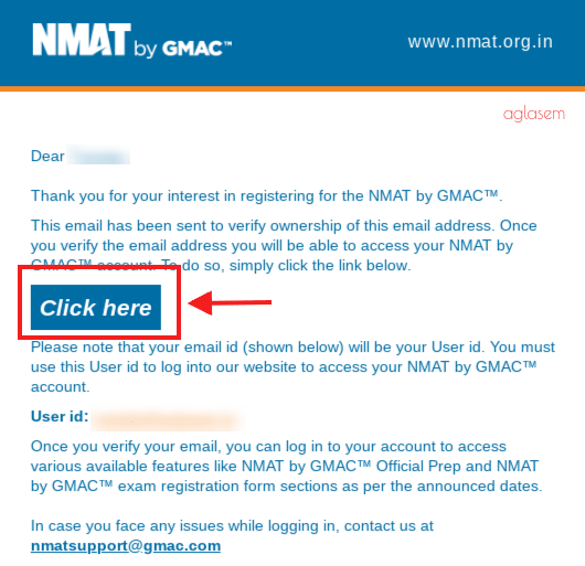 NMAT 2018 Email confirmation
