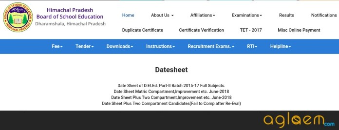 HP Board 10th Date Sheet 2019
