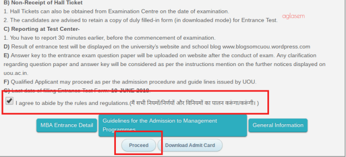 UOU MBA 2018 Application Form