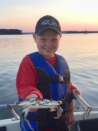 Boy holding a blue crab