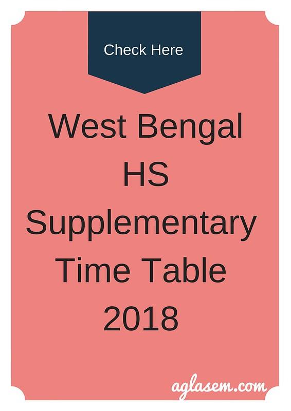 WBCHSE 12th Supplementary Exam Routine 2018