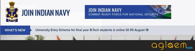 Notice on official website of Indian Navy