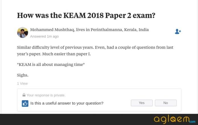 KEAM 2018 Paper 2 Analysis
