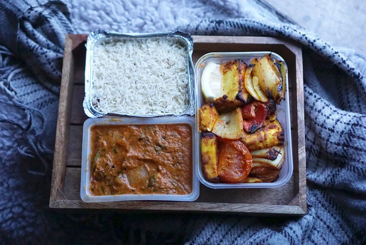 Tandoori paneer kebab, chicken curry and pilau rice from The Tiffin Tin in Tuffnell Park, North London | my gluten free Islington guide | gluten free North London