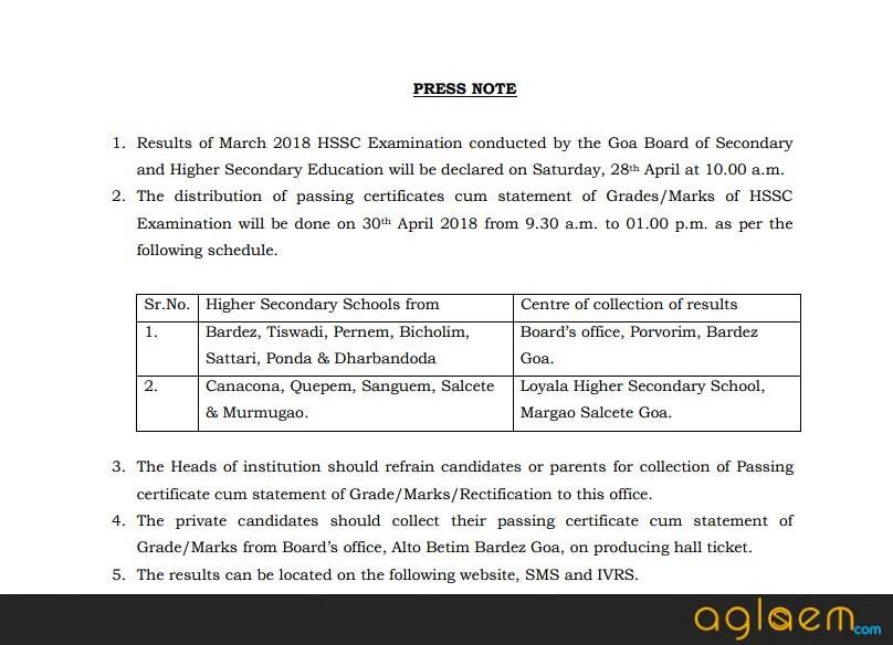 Goa Board HSSC class 12th Result 2018