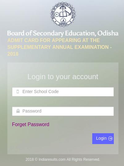 Odisha HSC Supplementary Admit Card 2018