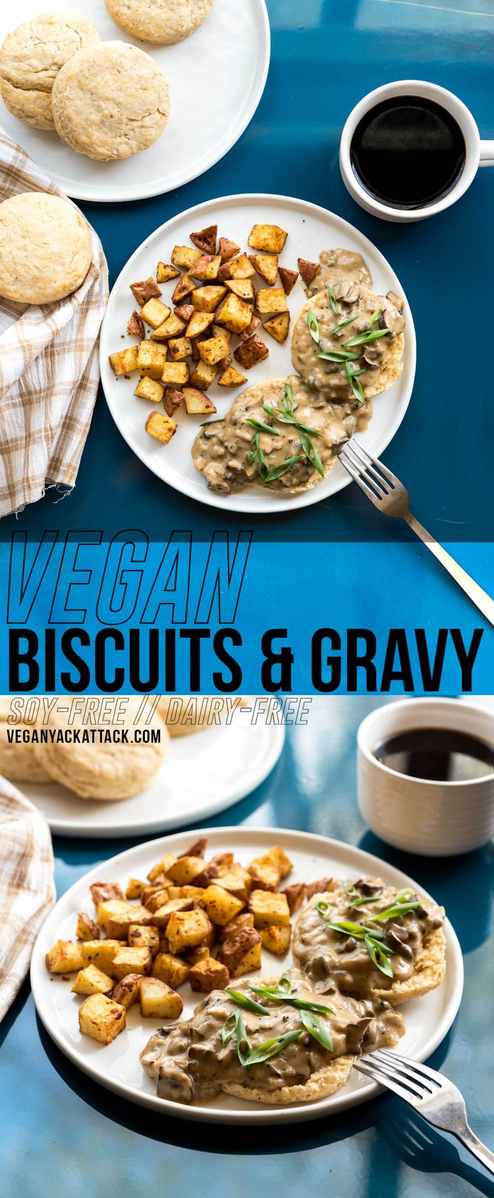Rich, comforting gravy, on top of fluffy, flaky, buttery vegan biscuits? You got it! This recipe for vegan biscuits and gravy will become a staple in your brunch menu, for many mornings to come. #vegan #brunch #veganyackattack