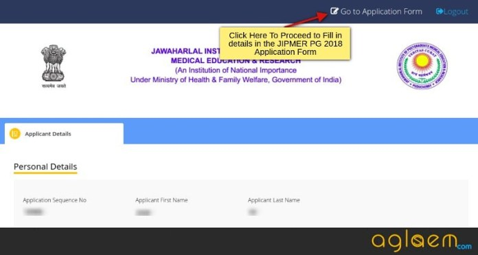 JIPMER PG 2018 Application Form Login