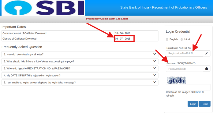 SBI Releases Probationary Officer Prelims Admit Card 2018