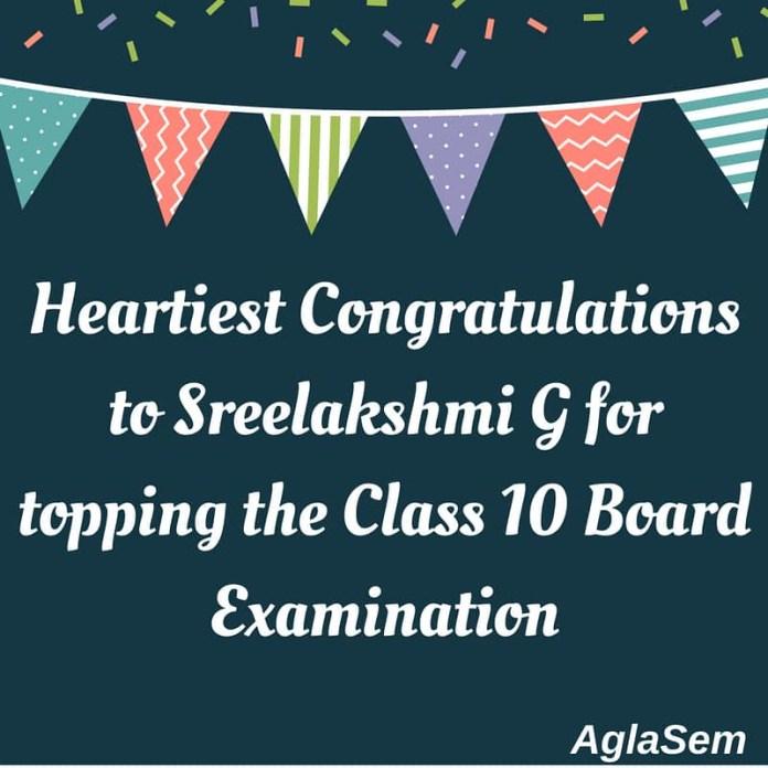 CBSE Class 10 Topper Sreelakshmi G