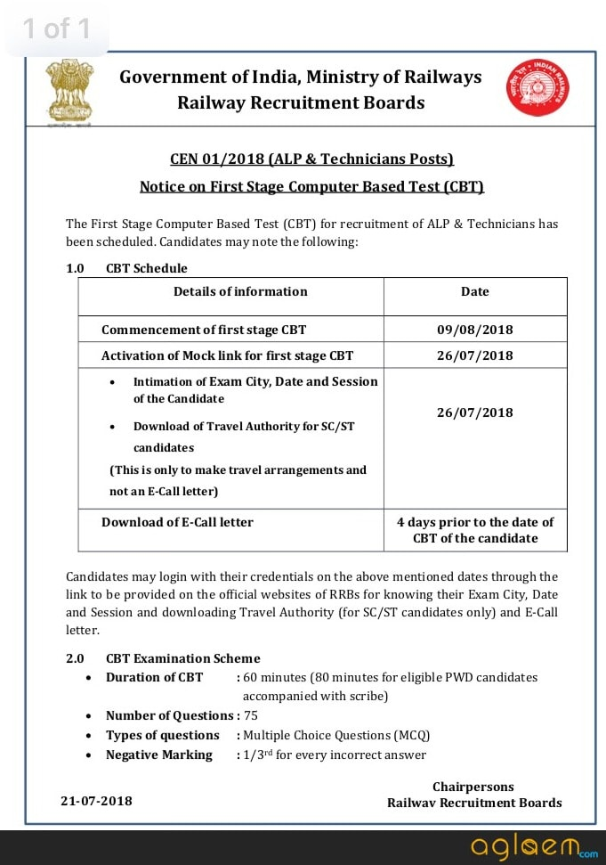 RRB ALP Exam Date 2018