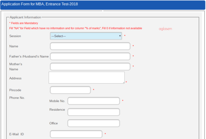 UOU MBA Application Form 2018
