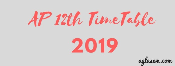 AP 12th Time Table 2019