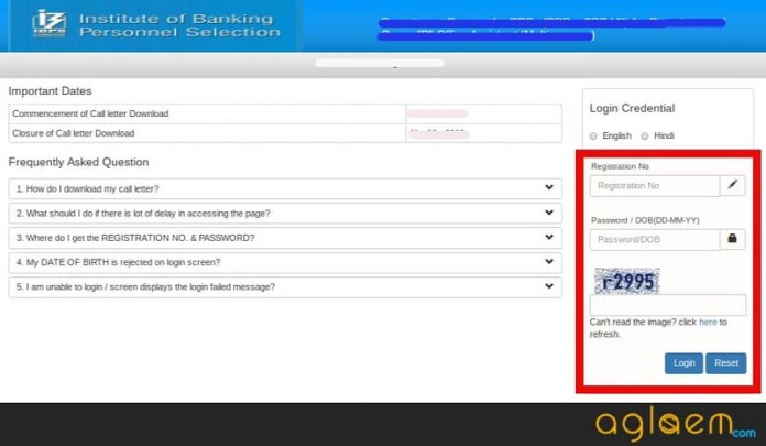 Admit card downloading demo of IBPS RRB