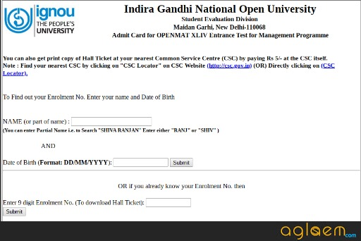 IGNOU OPENMAT Admit Card