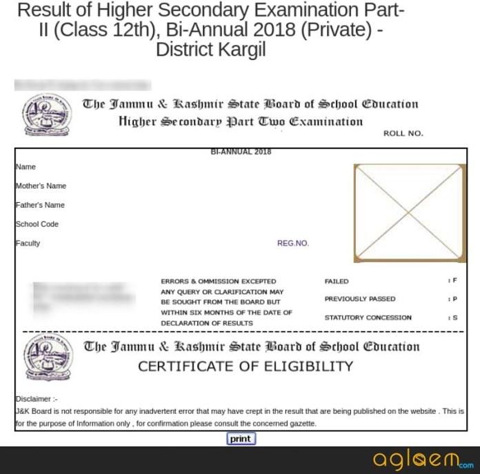 JKBOSE 12th Bi-Annual Result 2018 Kargil Division