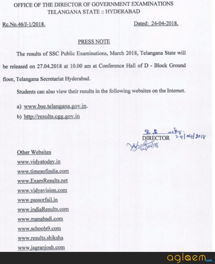 TS SSC Result 2018 Date