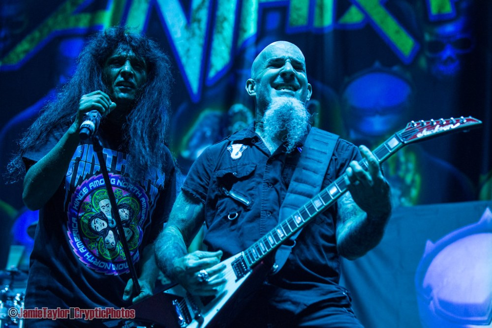 Joey Belladonna and Scott Ian of Anthrax performing at the Pacific Coliseum in Vancouver, BC on May 17th, 2018