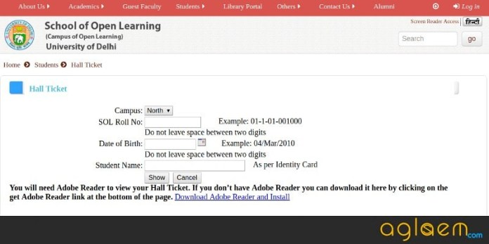 DU SOL 2018 Hall Ticket