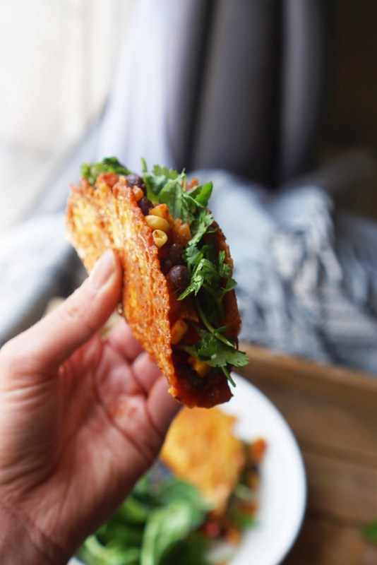 1 ingredient gluten free cheese taco shells with a vegetarian filling (black beans, sweet corn, onion, bell peppers, fresh coriander and Santa Maria fajita mix)   Easy Gluten Free Recipes   Gluten Free Mexican Recipes   Low Carb Recipes