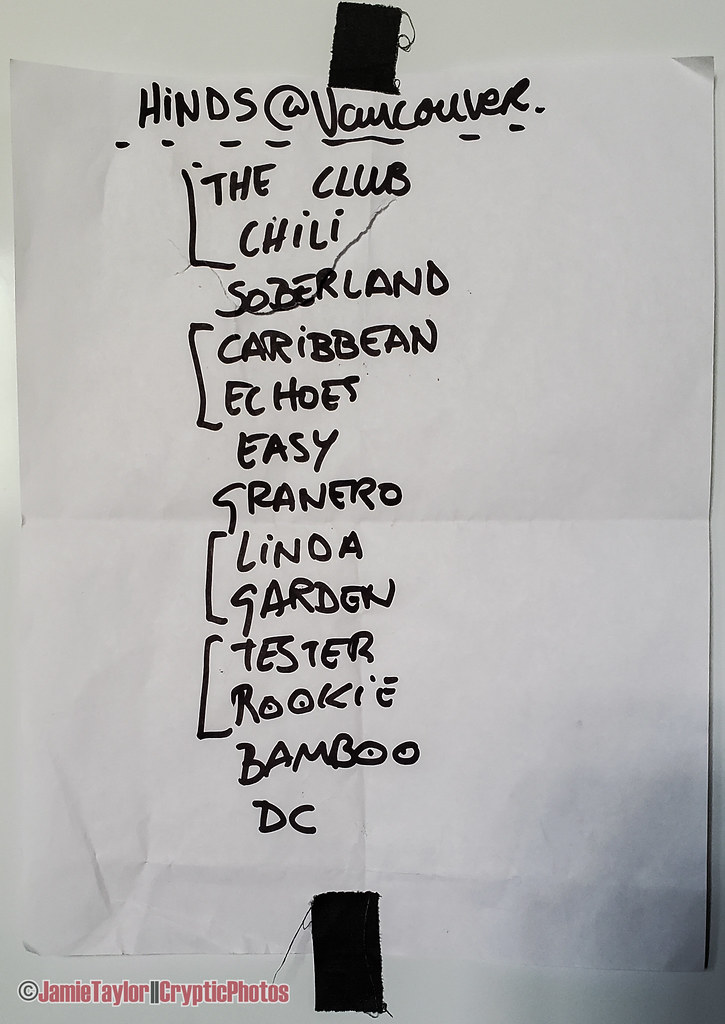 Hinds setlist from the Biltmore Cabaret in vancouver, BC on May 21st, 2018