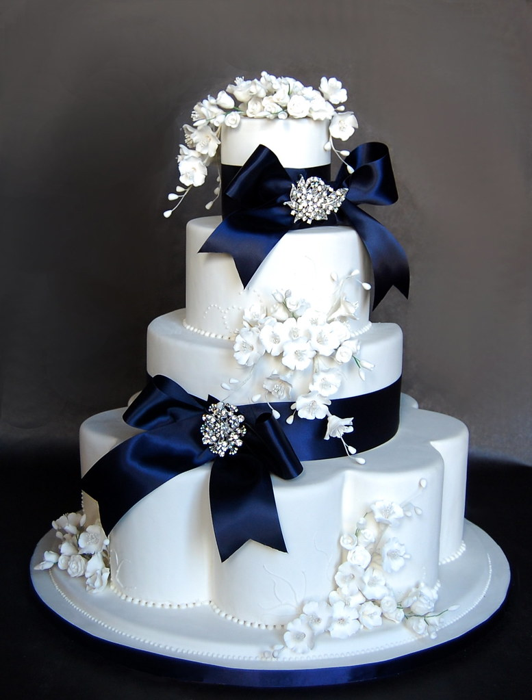 Blue Bows and Bling Fake Wedding Cake   Cakes Confidential         Blue Bows and Bling Fake Wedding Cake   by Cakes Confidential