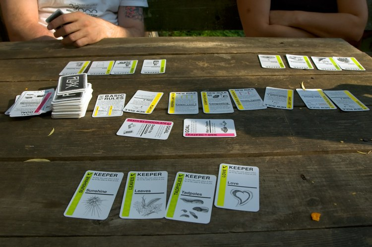 Fluxx, a short game requires you to be observant and to let players know when you win.