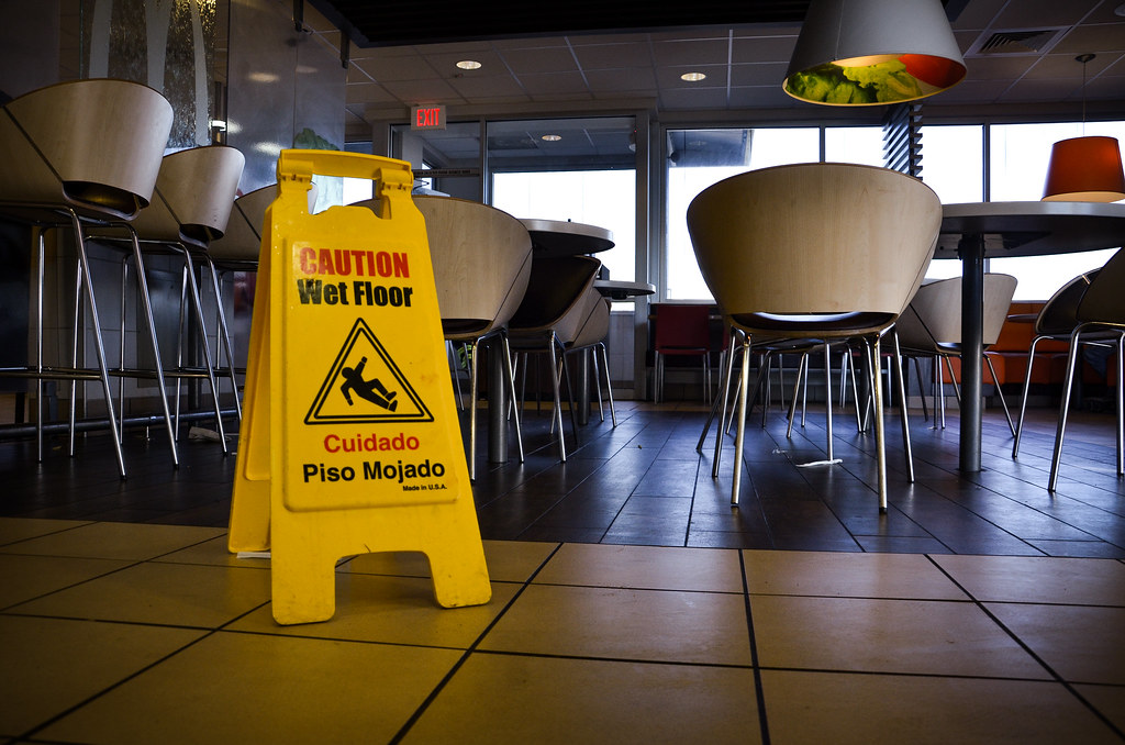 A wet floor sign