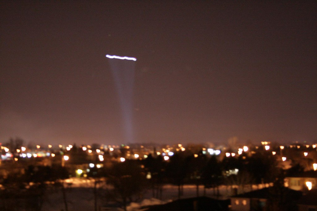 Durham Region Police Helicopter Searchlight Beam Whitby