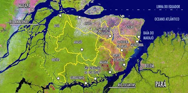 Multinacional da França apostar no Marajó para escolar grãos do Arco Norte, mapa marajó